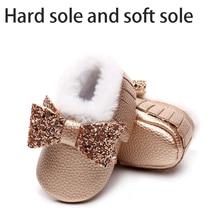 Ankle-Boots Baby Shoes Girls Winter Kids for Bow And Tassel Children Fur Velvet Warm