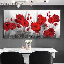Vermelho papoilas flor pintura da lona posters e cópias flores imagem da arte parede para sala de estar moderna decoração casa pinturas