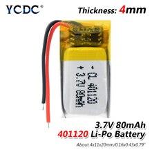 80mah 3.7v 401120 lítio li po bateria de polímero para bluetooth compatível fone de ouvido selfie vara polímero mp3 bateria recarregável