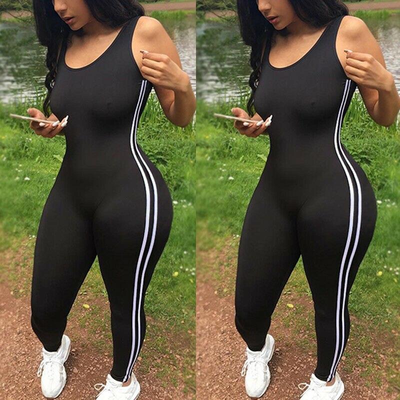 New Bodysuits Women Romper Women Striped Tight Romper One Piece Leggings Pants Jumpsuit Athletic Romper
