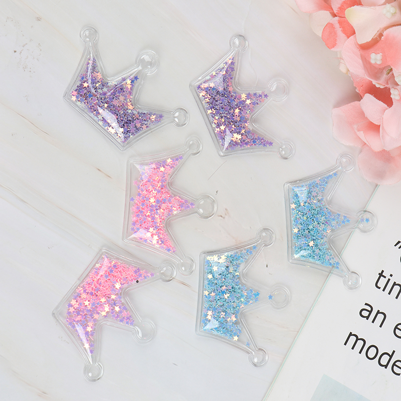10 Pcs Cute Transparent Crown Bling Star Flowing Patches Appliques For Children Clip And DIY Hair Clip Headwear Accessories