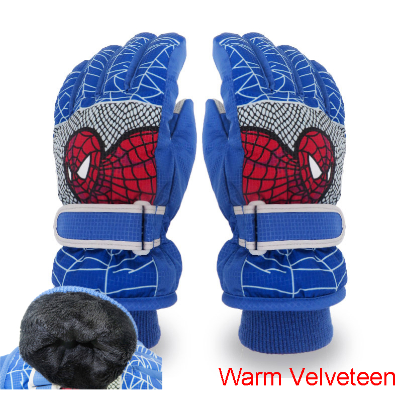 Winter Warm Ski Gloves Kids Snowmobile Mittens Waterproof Skiing Snowboard Gloves Children Girl Boy Cartoon Teen