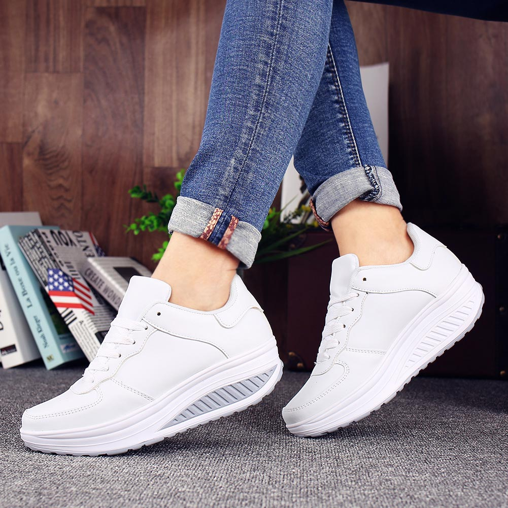 Plus Size Chunky Sport Sneakers Womans Trainers Running Shoes Ladies Sports Shoes Women's White Tennis Shoes Fitness Swing A-409