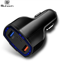 цена на Suhach Dual USB Quick Charge QC 3.0 Car Charger For iPhone USB Type-C PD Fast Charger Mobile Phone Quick Charger Car-Charger