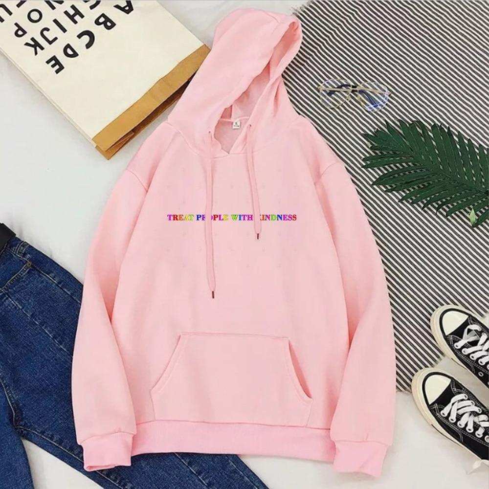 Treat People with Kindness Sweatshirt Streetwear Fashion Tops Letter Pullovers Women 2020 Harry Styles Hoodies Aesthetic 7