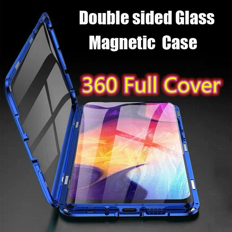 Manyetik adsorpsiyon 360 tam kapak Metal kılıf Xiaomi Mi A2 çift taraflı temperli cam kabuk için Xiaomi A2 Mi a2 Fundas çapa