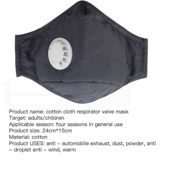 2020 New Cotton Washable Mouth Mask Anti Haze Dust Mask Nose Filter Windproof Face Muffle Bacteria Flu Fabric Cloth Respirator 5