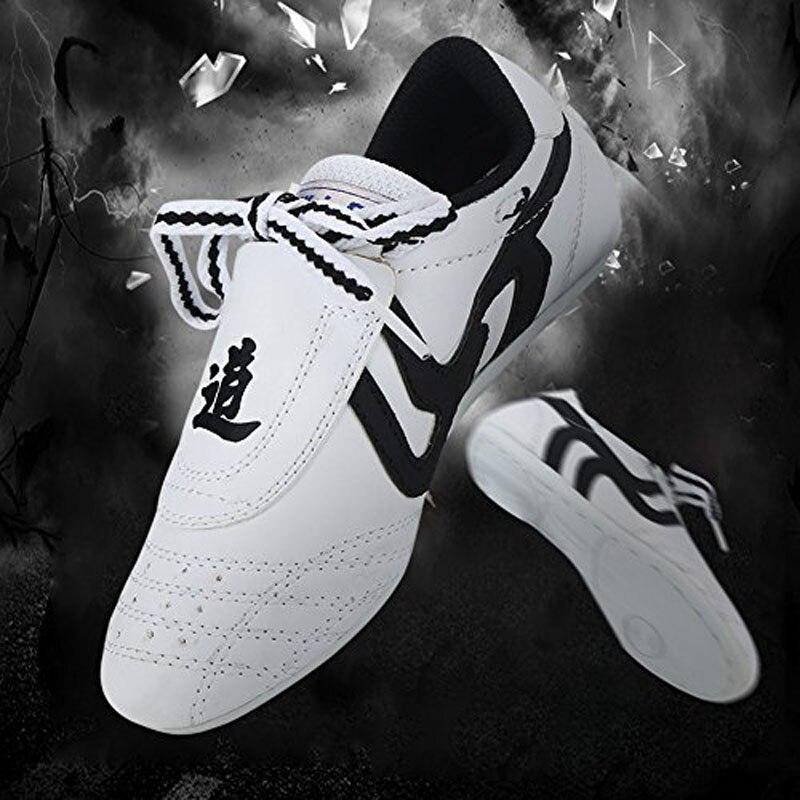 Soft PU Leather Breathable Taekwondo Shoes Taichi Wushu Kung Fu Karate Boxing Shoes Adults Children Judo Training Sports Shoes