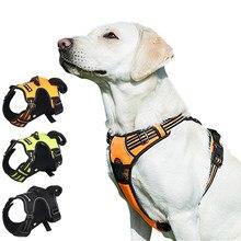 Animal de estimação reflexivo náilon arnês do cão nenhuma tração ajustável médio grande cão impertinente colete segurança veicular chumbo andando correndo