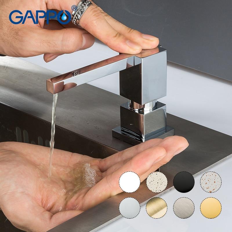 GAPPO Liquid Soap Dispenser Brass Deck Mounted Kitchen Soap Dispensers Square Counter Top Dispenser