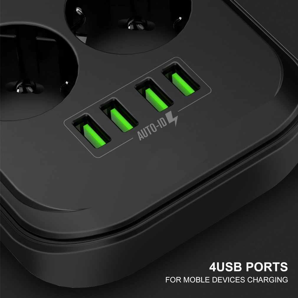 4 usb 전화 충전기 여러 전원 소켓 6 eu 콘센트 전원 스트립 충전기 홈/레스토랑 충전 휴대 전화