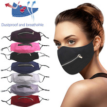 Zipper Mask Face Fashion Washable Cotton Fabric Mask with straw hole anti-dust masque decoration Halloween cosplay