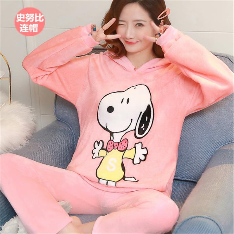 Women Pajamas Sets Winter Female Pajama Thick Flannel Flower Print Warm Pajama Set Long Sleeve Full Trousers Two Piece HoodedTop