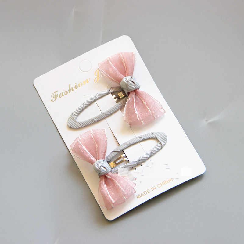 2 stks/partij Rooster Streep Satijnen Strik met Lint Bedekt BB Clip voor Meisjes Kids Handgemaakte Boutique Mini Haarspeld Haar Accessoires