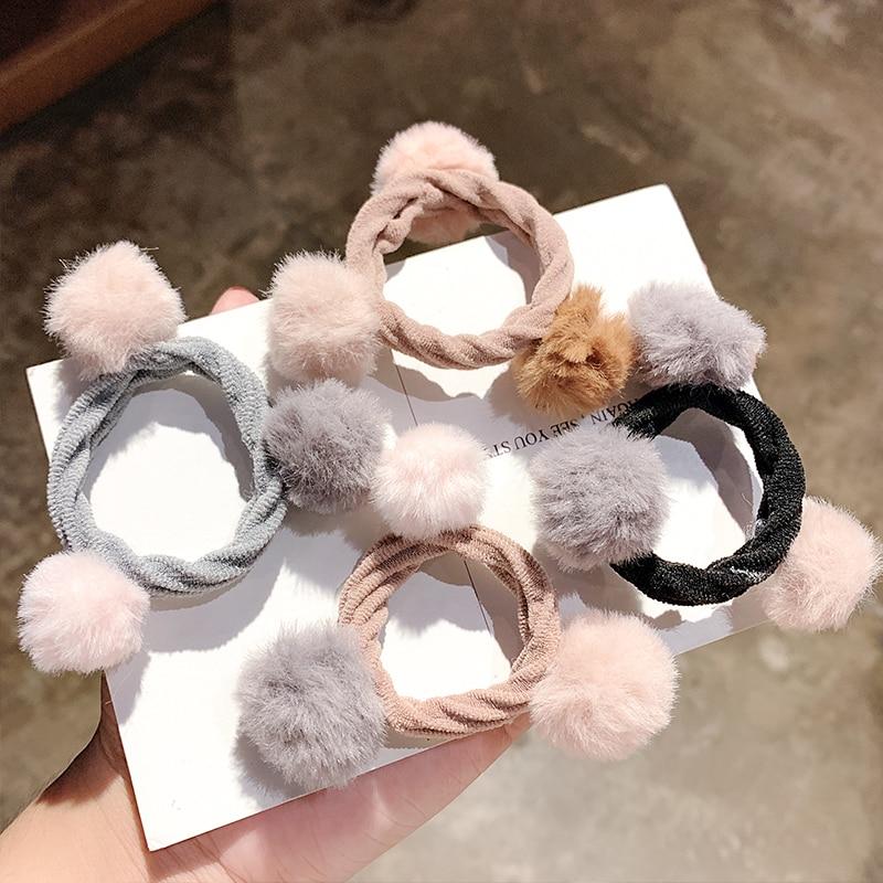 New Women Girls Cute Plush Ball Elastic Hair Bands Ponytail Holder Sweet Scrunchie Rubber Band Headband Fashion Hair Accessories