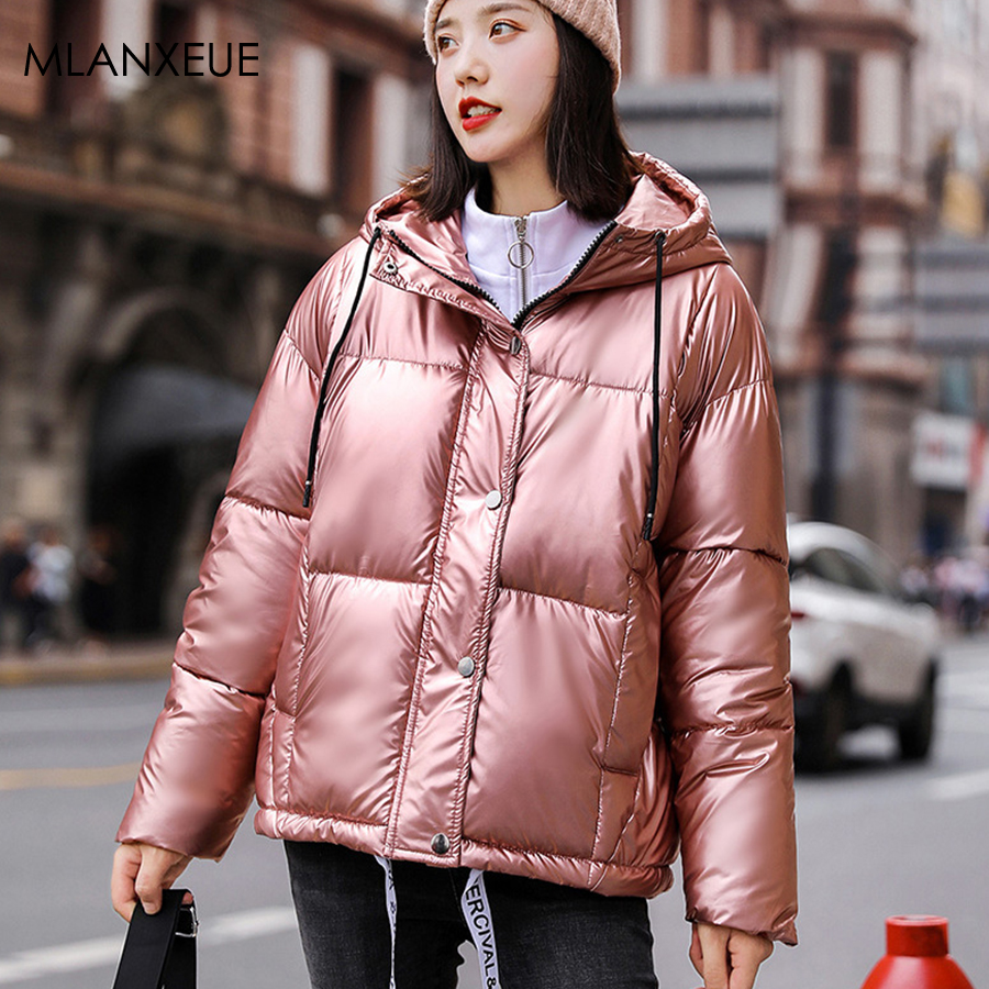 Solid Glossy Winter Hooded Down Jacket Women Thicken Warm Parka Reflective Coats Jackets Female Streetwear Plus Size Cotton Coat