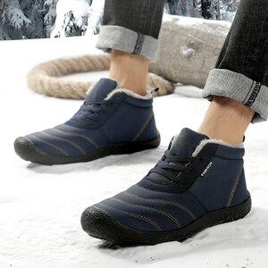Image 5 - REETENE 남자를위한 최고 온난 한 남자 겨울 시동 온난 한 모피 방수 장화 단화 견면 벨벳 남자의 발목 눈 시동 Botas Masculina