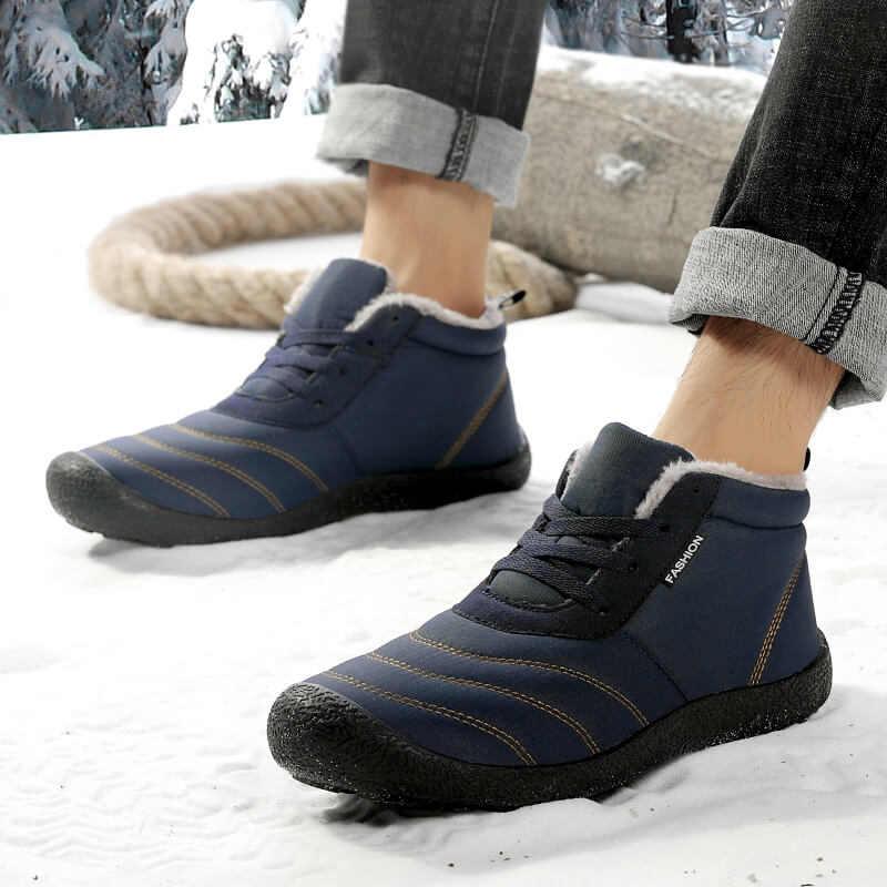 REETENE için süper sıcak erkekler kış çizmeler sıcak kürk su geçirmez yağmur çizmeleri ayakkabı peluş erkek ayak bileği kar botu Botas Masculina