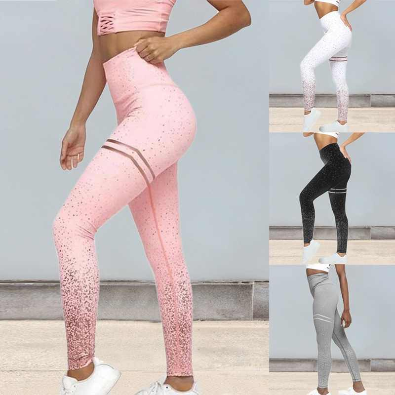Loozykit Hot Koop Vrouwen Sexy Black Mesh Yoga Broek Gym Srtriped Gedrukt Leggings Slim Fitness Hoge Taille Leggings Workout 2019