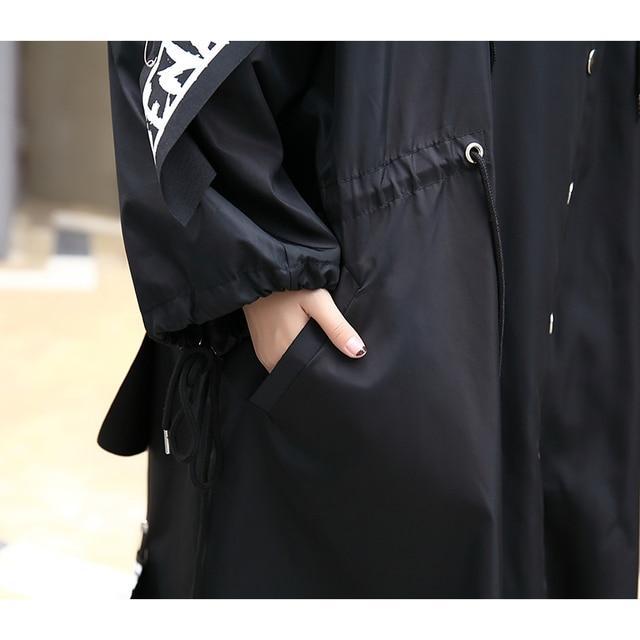 Tide Long Print Streetwear Hoodie Casual Female Wide Waisted Coat 4