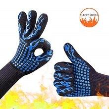 1 Stuk Anti Warmte Handschoenen Oven Bbq Grillen Bakken Haard Accessoires Lassen Onderarm Bescherming 932 °F Hittebestendige