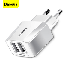 Baseus Dual USB Charger For iPhone iPad Samsung Xiaomi mi 2.1A Fast Wall Charger EU Adapter Travel Charger Mobile Phone Charger