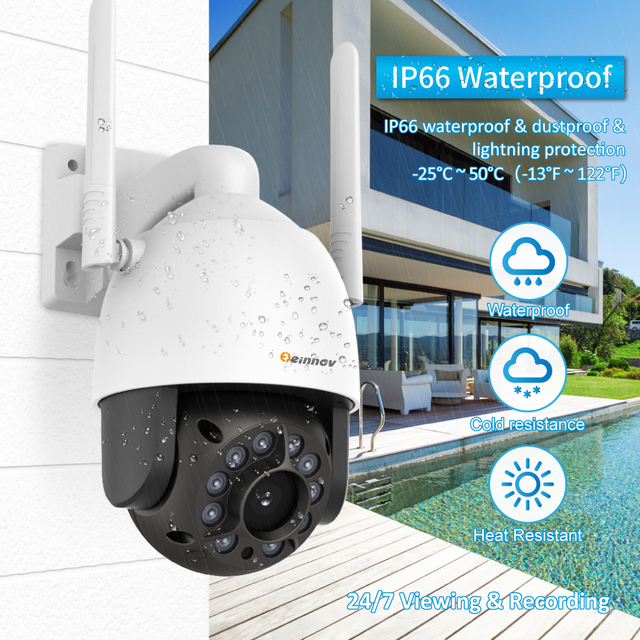 Cámara de seguridad inalámbrica con Wifi IP de Einnov, cámara de seguridad para exteriores 1080P HD, cámara de vigilancia de Audio Onvif 2MP IR visión nocturna P2P Camhi SD
