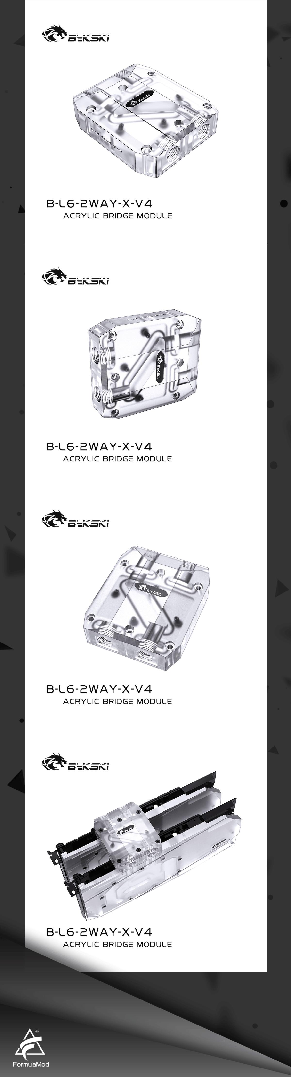 Bykski B-L6-2WAY-X-V4 Graphics Card GPU Waterway Connection Adjustment Bridges Acrylic Connectors Water Cooling