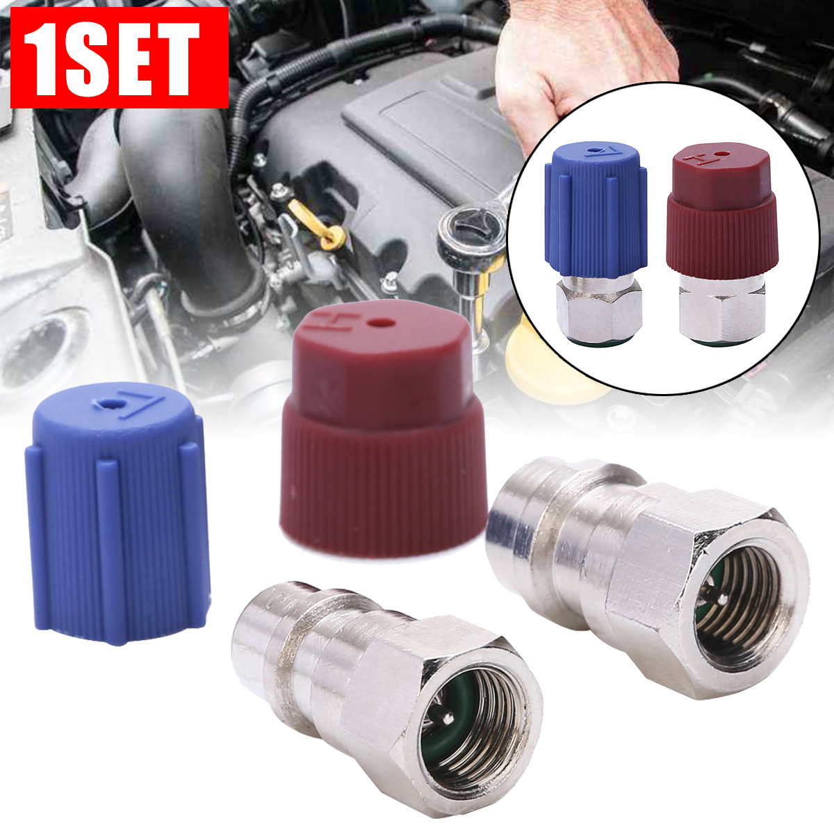 2pcs Red Blue Car Retrofit Conversion Adapter <font><b>1/4</b></font> <font><b>SAE</b></font> R12 To R134a High/Low Voltage AC Fitting For Automobiles Air Conditioner image