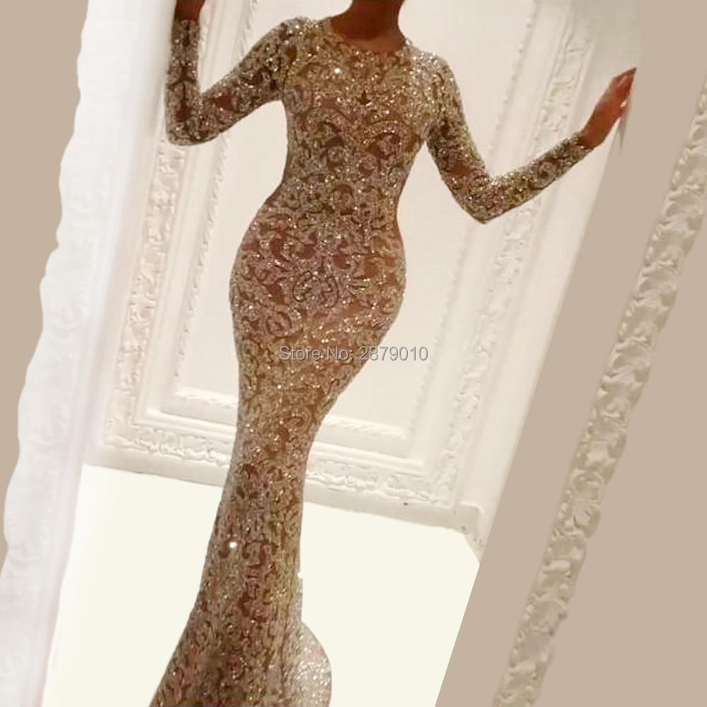 2020 Champagne Elegant Scoop Mermaid Evening Dress Tulle Full Sleeves Metal Spraying Lady Dress Full-length Prom Dress Zipper