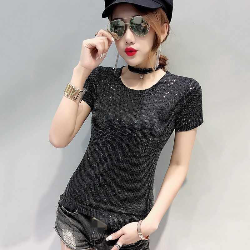 Eropa Fashion Baru Payet Leher O Lengan Pendek Wanita T-shirt Musim Panas Slim Fit Club Wear Pullover Wanita Tee Top Plus Ukuran