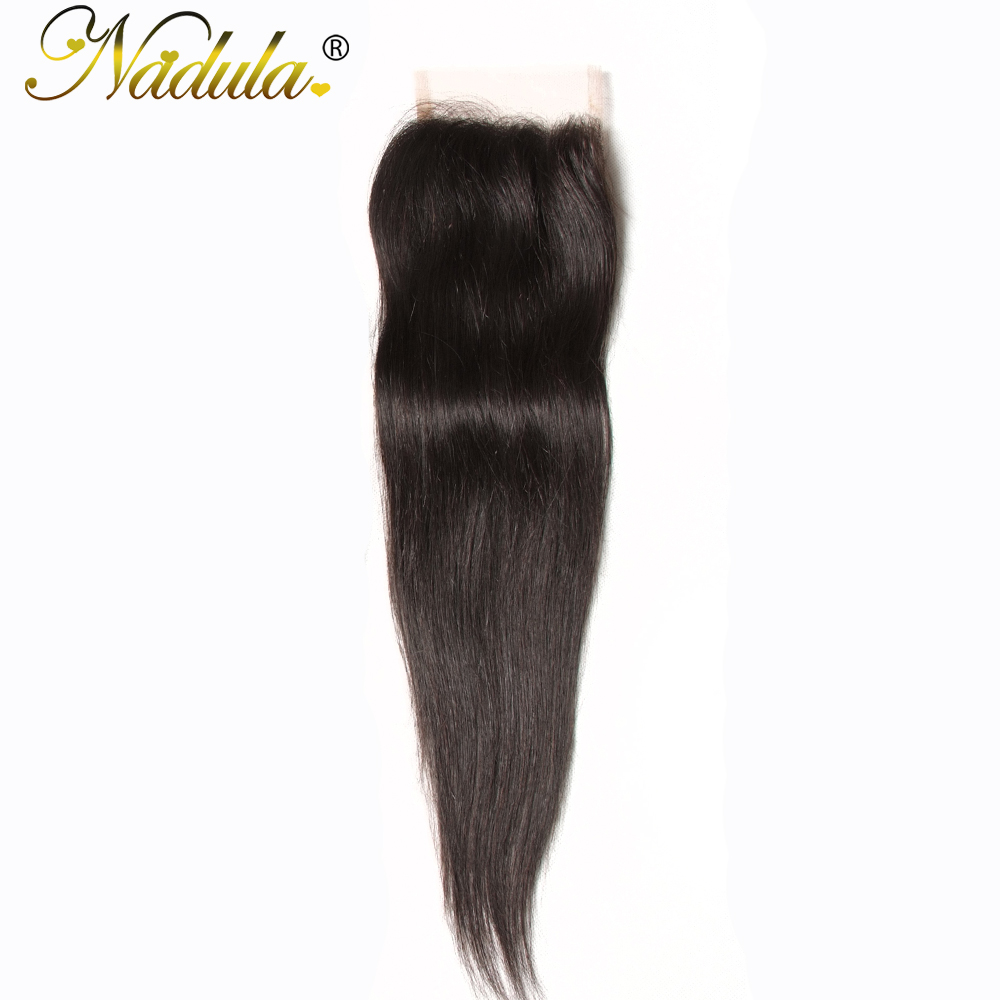 Nadula Hair 4X4 Lace Closure Straight  Closure With Baby Hair Swiss Lace Medium Brown  Closure 8-18inch 2