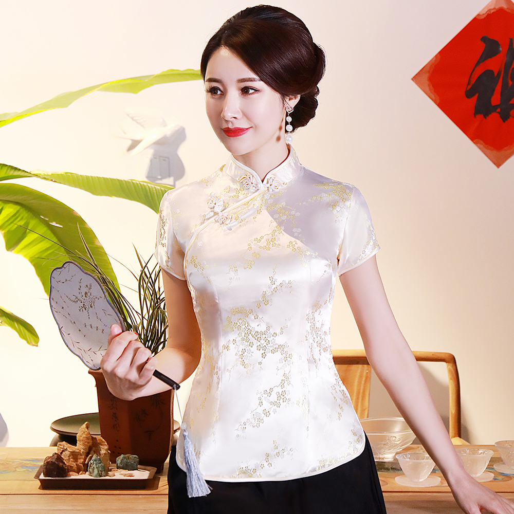 Chinese Traditional Women Top Plus Size 3xl 4xl Blouse Satin Flower Shirt Vintage Handmade Button Shirts Short Sleeve Costume