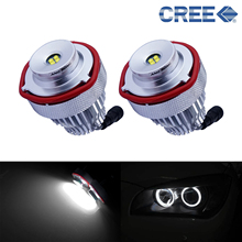 цена на ANGRONG Angel Eyes 40W LED Headlight White Halo Ring Marker Light Lamp For BMW E60 E61 LCI