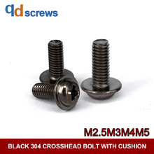 Black Oxide 304 M2.5M3M4M5 stainless steel Phillip cross round head with gasket cushion screw DIN967