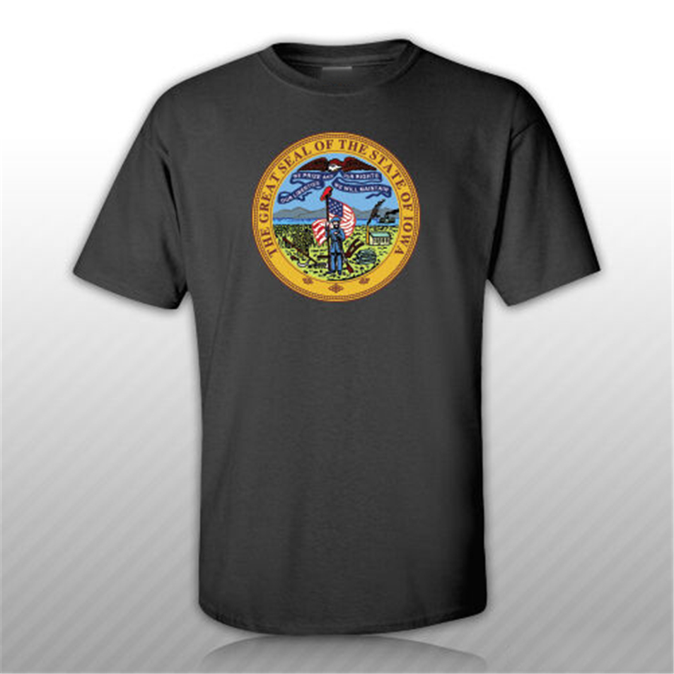 <font><b>Iowa</b></font> State Seal T-<font><b>Shirt</b></font> Tee <font><b>Shirt</b></font> Free Sticker State Our Liberties Hawkeye For Youth Middle-Age The Elder Tee <font><b>Shirt</b></font> image