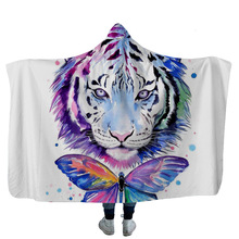 Psychedelic Modern Hooded Blanket Tiger Wolf Lion 3D Printed Plush For Adults Kids Sherpa Fleece Warm Sofa