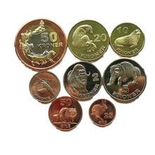 8 peças ilhas da gronelândia (dinamarca) arctic animais 2010 ano moedas presente original não circulou