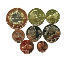 8pcs Greenland Islands (Denmark) Arctic Animals 2010 Year Coins Original  Gift Present Not Circulated