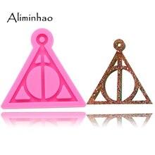 DY0085 блестящие брелоки с логотипом Гарри Поттера форма кулон Полимерная глина DIY ювелирных изделий блестящая эпоксидная силиконовая полимерная форма