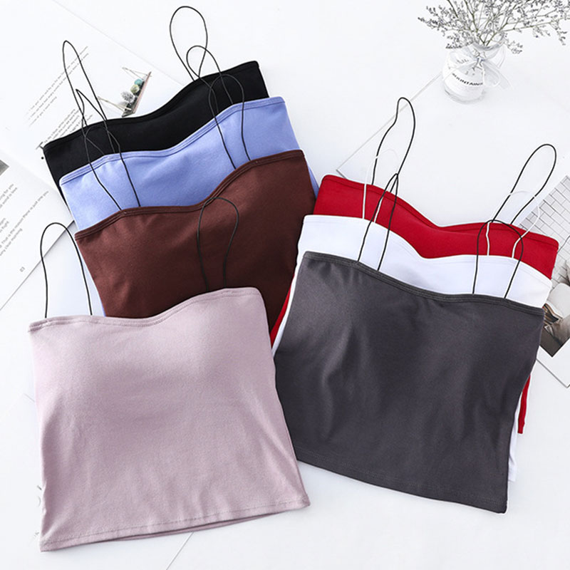 Women Sleeveless Vest Cami Tank Tops Solid Color Summer Spaghetti Strap Summer Casual Chest pad T-shirts Camis New