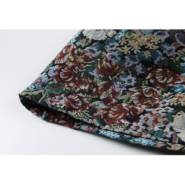 Autumn Vintage Floral Printing Long Sleeve Women Dress Korean Peter Pan Collar Cute Ladies High Waist Loose A-Line Dress Female 6