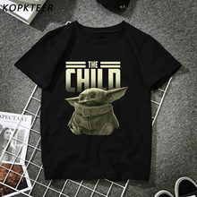 2020 plus récent mode homme T-shirt belle bébé Yoda Mandalorian mode noir T-shirt marchandise impression T-shirt Hip Pop hauts(China)