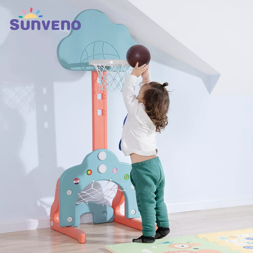 Sunveno 3in1 Toys Basketball Hoop/Football Soccer Goal Training/Golf for Kids Practice Outdoor Sports Children Baby Toys Gift