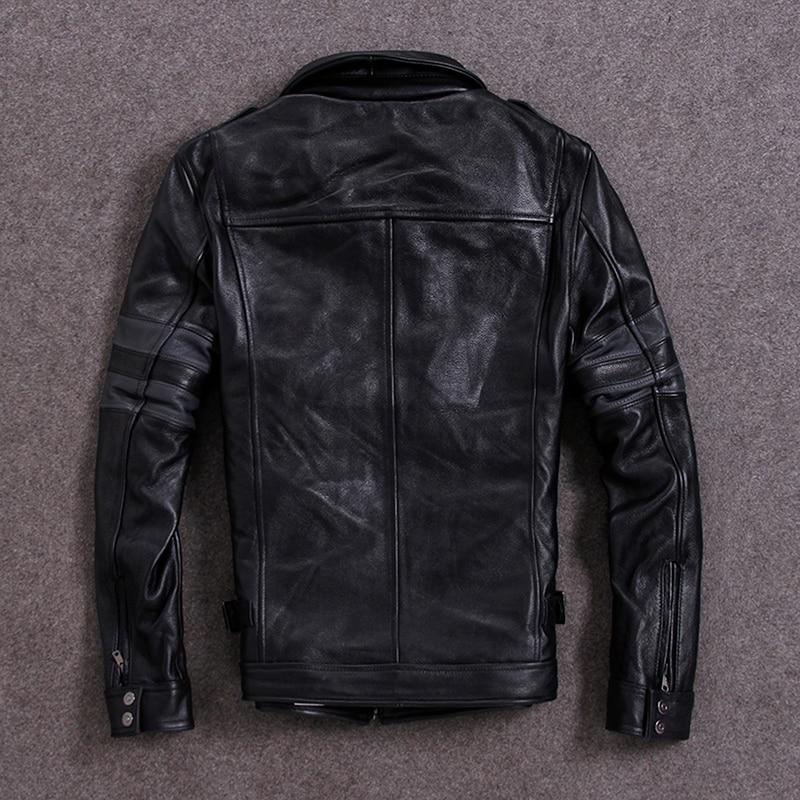 Genuine Cow Leather Jacket Men Cowhide Leather Coat Short Spring Autumn Bomber Jacket Chaqueta 19-820 KJ1311