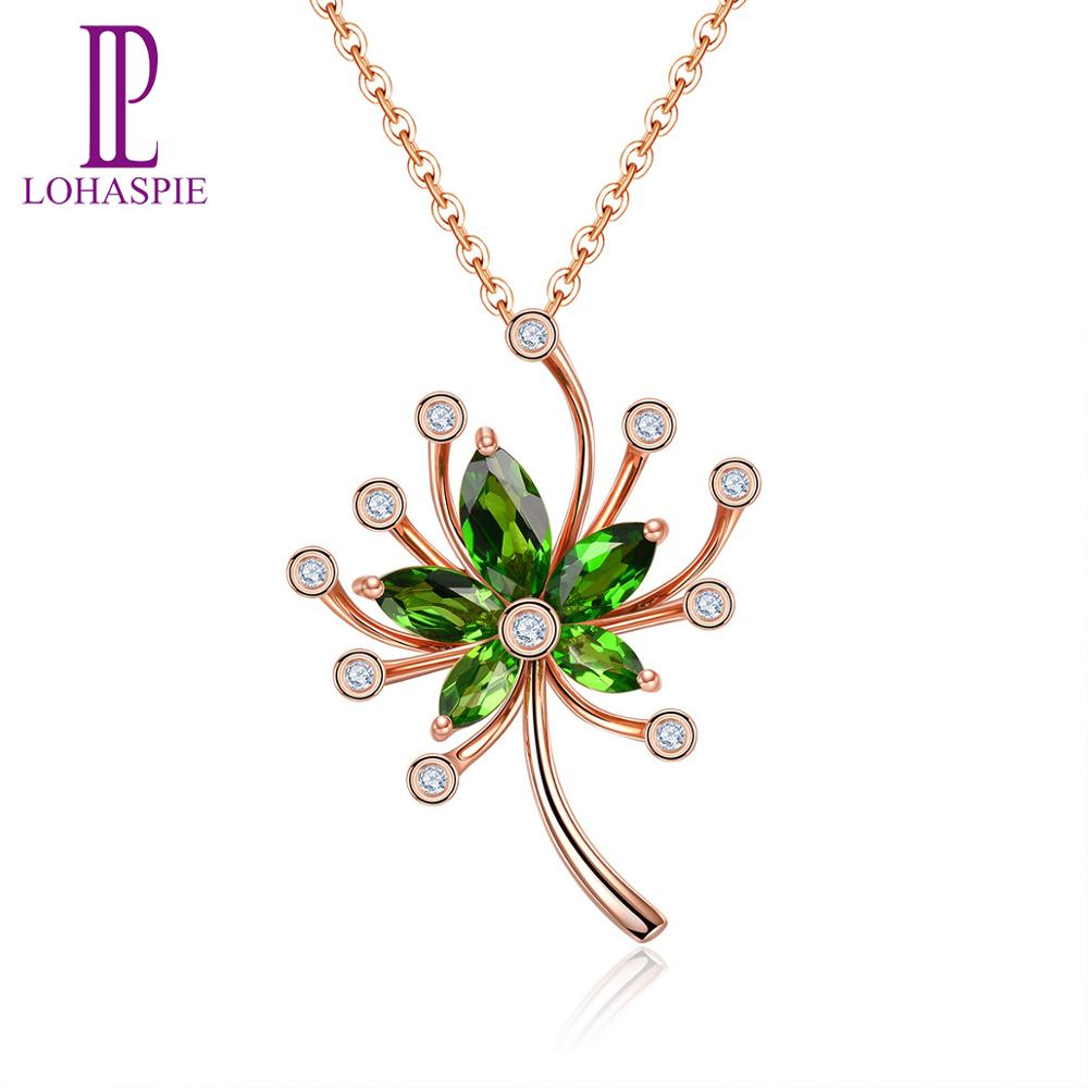 LP Real K Gold Pendants For women Natural Diamond Chrome diopside Gemstone Necklace For Best Friends Pendan With silver chain