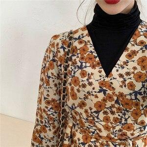 Image 5 - Mùa Xuân Năm 2020 Thiết Kế Đẹp Đầm In Hoa Tay Cổ Vàng Tính Khí Nữ ĐầM Vintage Phong Cách Hàn Quốc 12520