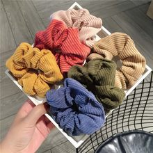 Women Warm Corduroy Big Hair Scrunchies Solid Soft Vintage Hair Gums Striped Fabric Rubber Bands For Hair(China)