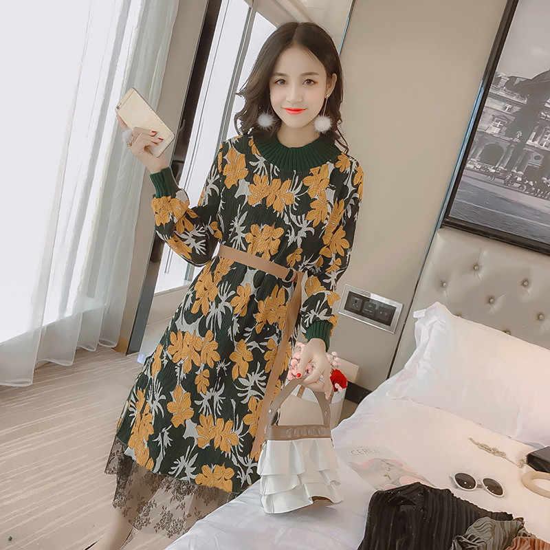 2020 אלגנטי פרחוני שמלת נשים Sashes ארוך שרוול סתיו החורף לסרוג טלאים מקרית Slim שיפון תחרה שמלות WXF615