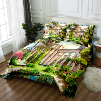 Green Architectural Landscape Bedding Duvet Cover set Soft Fabric Quilt Cover Pillowcase Double Bedding set 3pcs Bed set CP-K002